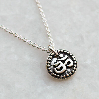 Om Ohmaum Symbol Necklace Sterling Silver Chain Yoga Buddhist