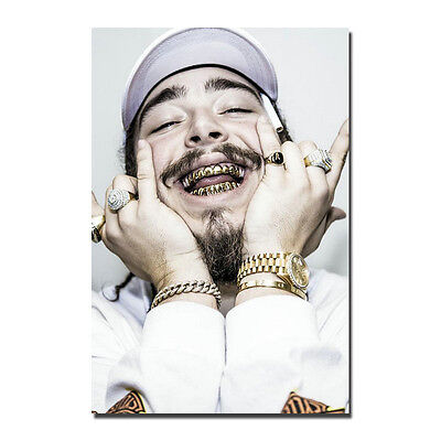 New Post Malone Custom Rap HipHop Music Gold Star Silk Canvas Poster 24x36inch