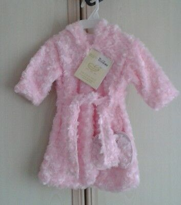 NWT Girls Pink Fluffy 2 Piece Hooded Luxury Robe Set by Beansprout, 0 - 9 Months