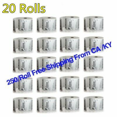 20 Rolls Direct Thermal Labels 4x6 250/Roll For Zebra 2844 ZP-450 ZP-500 ZP-505
