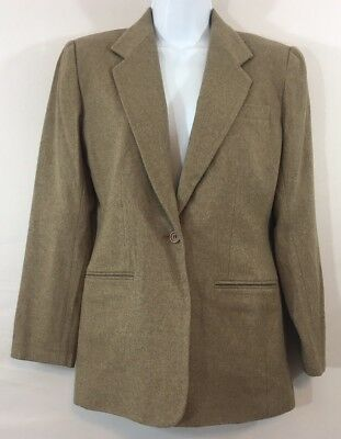 NWT Land's End Petite 4 Tan Brown Oatmeal Blazer Wool & Cashmere Lined Womens