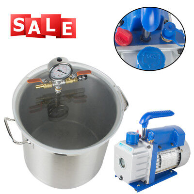 5Gallon Stainless Steel Vacuum Degassing Chamber Silicone Kit +Pump Hose EasyUse