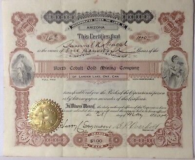 North Cobalt Gold Mining Co. Arizona 1909 Stock Certificate Uncancelled