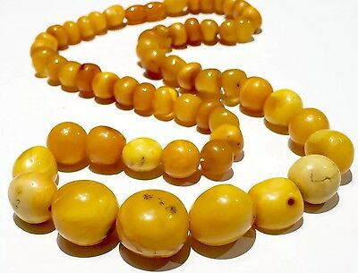 48g Old NATURAL EGG YOLK BUTTER SCOTCH CARAMEL amber necklace