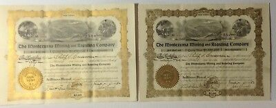 2 Montezuma Mining and Roasting Co New Jersey 1905 Stock Certificate Uncancelled