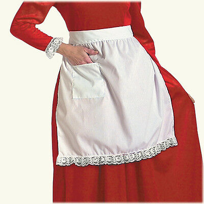 Mrs. Claus White Cotton Apron Lace Trim Colonial Victorian Amish Pioneer