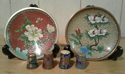 2 vintage chinese cloissene pin dishes with 4 cloissone thimbles