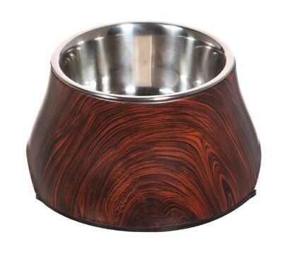Hagen Dogit Design Melamine Faux Wood Dish With Stainless Steel Bowl