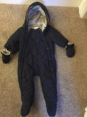 Next Baby Boy Navy Snow Suit With Gloves Age 6-9 Months
