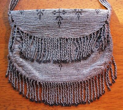1920'S French Art Deco Steel Beaded Purse Full Twisted Fringe, Excellent Shape!