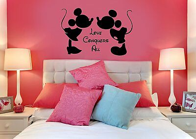 Disney Love Conquers All Mickey and Minnie wall art vinyl sticker DECAL DECOR