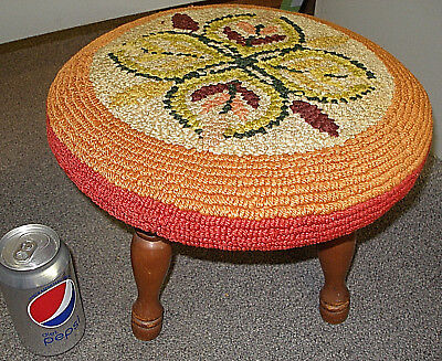 Vintage Wood Foot Stool With Crochet Floral Cover Design Wooden Legs