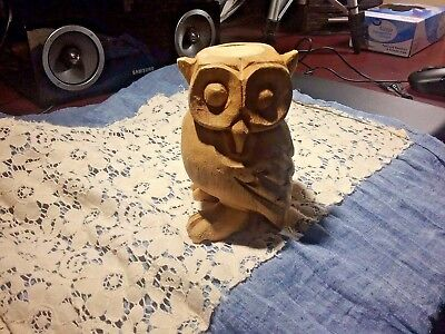 Hand Carved Wooden Blank Natural Hooting Owl Whistle Figurine Thailand