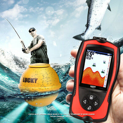 Wireless Fischfinder 60M Sonar Sensor Fishing Rechargeable LCD Transducer OS923