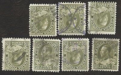 Stamps Canada # 119, 20¢, 1925, lot of 7 used stamps.