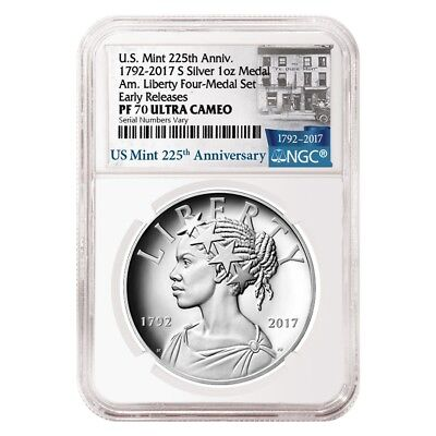 2017 S 1 oz American Liberty Proof Silver Medal NGC PF 70 ER - 225th Anniversary