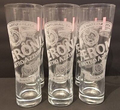 Peroni Beer Glassware 0.3 L Etched Logo and Red Tag NIB Full Set of 6