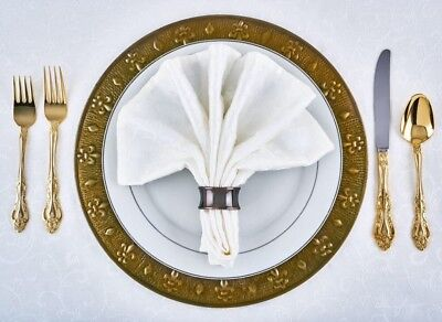 13-inch Metal Antique Gold Charger Plates with Brass Finish  (Set of 6)