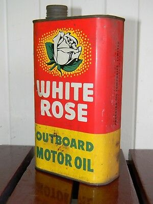 Vintage White Rose Outboard Motor Oil Tin Can