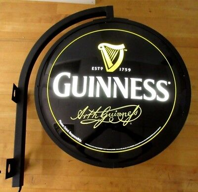 """Guinness Globe Lighted Wall Sign Everbrite Guinness Double Faced 18-1/2"""" Beer"""