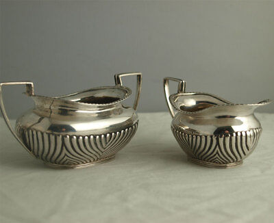 Solid Silver jug & Sugar - 197g - Strawberry Set - Sheffiled