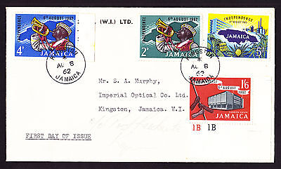 1962 Jamaica Jamaican First Day FDC Cover FDI Independence stamps 4d 2d 1/6 5/-