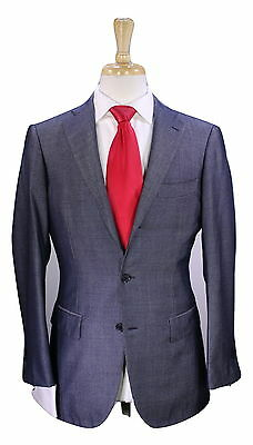 * RING JACKET * Japan Navy Blue/Silver Woven Wool-Silk 2-Btn Slim Fit Suit 38S