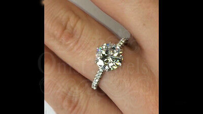 2Ct Round Moissanite Forever Attractive Engagement Fine Ring 14K White Gold