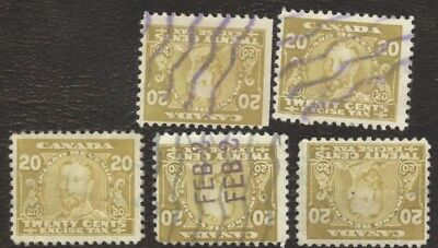 Revenue Stamps Canada # FX 7, 8¢, 1915, excise tax, lot of 5 used stamps.
