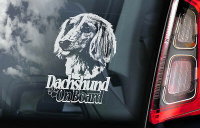 Dachshund on Board - Car Window Sticker - Teckel Dackel Dog Sign Decal Gift- V08