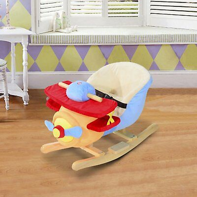 Kids Plush Ride On Rocking Horse Airplane Chair with Nursery Rhyme Sounds