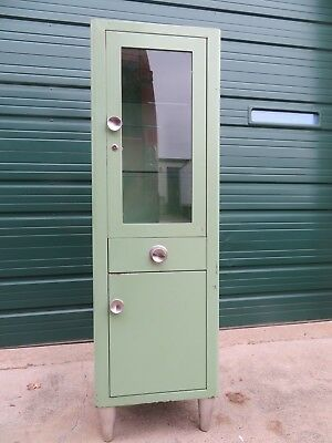 Industrial Vintage Tall Green Metal MEDICAL or DENTAL Storage Display Cabinet