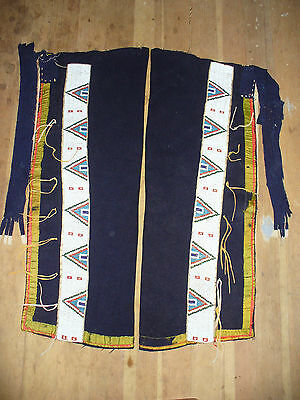 Late 19th Century Sioux Beaded Leggings on Blue Stroud Trade Cloth w Red Fringe