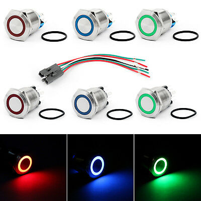 22mm 24V Ring LED Push Button Switch Stainless Steel For Car/Boat/DIY US