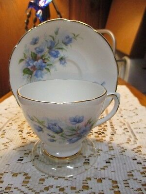 Vintage Royal Sutherland Fine Bone China Cup Saucer Staffordshire England Blue