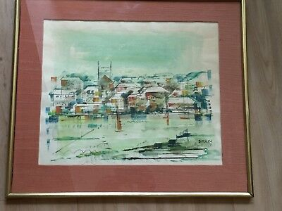 Vintage Water color Painting Birdsey Bermuda Framed Matted