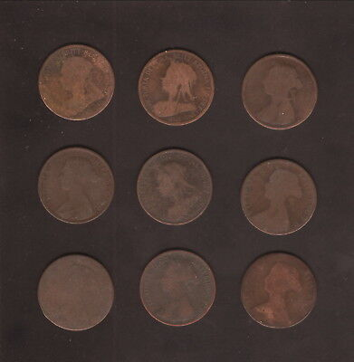 Great Britain--Lot of Nine Different Queen Victoria 1/2 Penny Coins