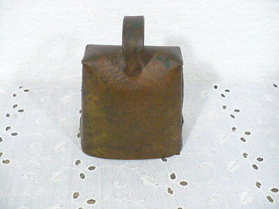 "Antique Cow Bell with a wonderful ring & cast iron striker 4"" tall (cows coming)"