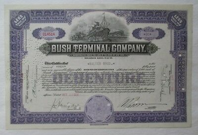 1936 BUSH Terminal Company DEBENTURE STOCK CERTIFICATE  Ship Train Truck
