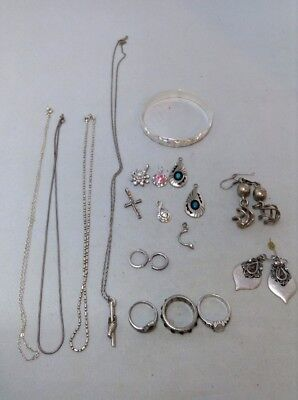 MIXED LOT OF 17 Sterling Silver Necklaces Earrings Pendants Rings Bracelet 86.2g