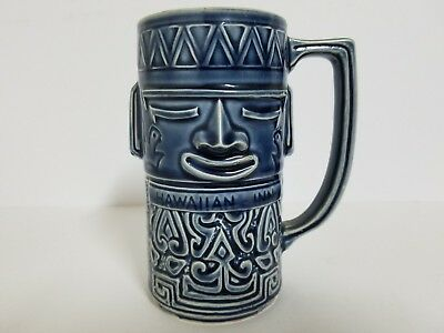 Vintage Hawaiian Inn Daytona Beach Tiki Blue Ceramic Cup