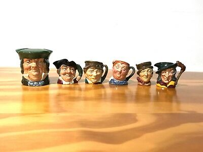 Lot of Six Royal Doulton vintage collectible Toby Jugs mugs in EXCELLENT shape.