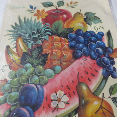 Vintage Meyercord Decal Large Fruit Kitchen 1526-A Mid Century Decor Colorful