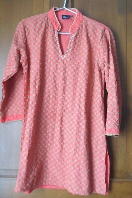 OLAY Size XXL India Clothing Kurta Top Dress Orange Beige Embroidered Sequins
