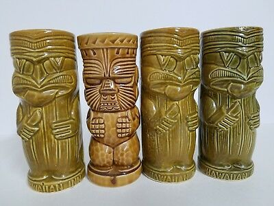 Vintage Hawaiian Inn Daytona Beach Tiki Brown Ceramic Cups - (Set of Four)