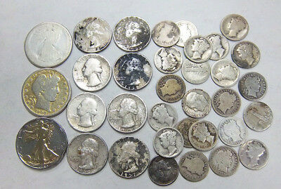 $5.00 Face Value 90% Silver Coins Quarters Dimes Half Dollars Junk Or Not