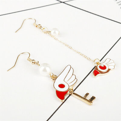 Anime 1 Pair Card Captor Sakura Star Wand Key Earrings Metal Charm Jewelry Gifts