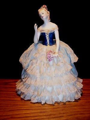 Vintage Dresden Victorian Style Lady Figurine Blue & White Lace Dress