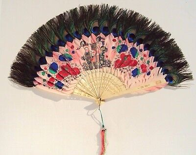 RARE PINK Hand Painted Antique Chinese PEACOCK FEATHER FAN w/ Cattle Bone Stays