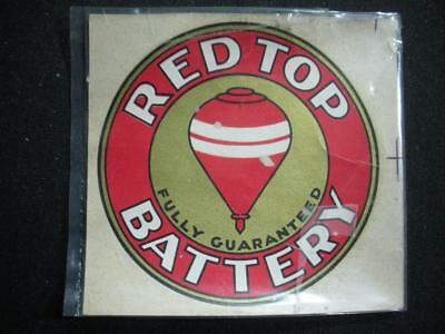 Antique / Vintage Red Top Battery Decal / LOOK!